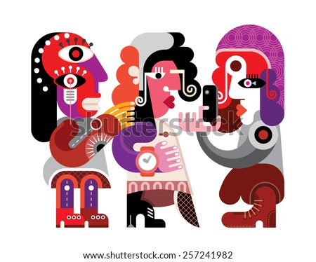 Three persons abstract vector Illustration. Portrait of three friends taking photos with a smartphone. Isolated on white background.  - stock vector