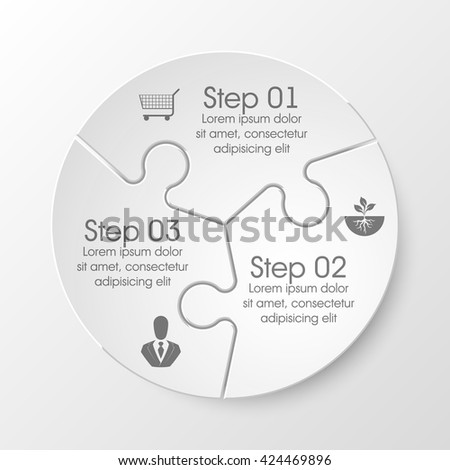 Three piece flat puzzle round infographic presentation. 3 step circle business diagram. Three section compare service banner. Vector illustration template shape . 3d Abstract Background - stock vector