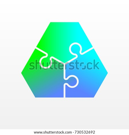 three piece flat puzzle round infographic stock vector 730532692
