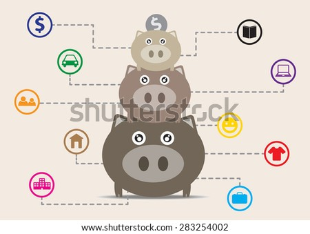 Three piggy bank with a dollar coin and show all future financial planning. (Set of saving money concept) - stock vector