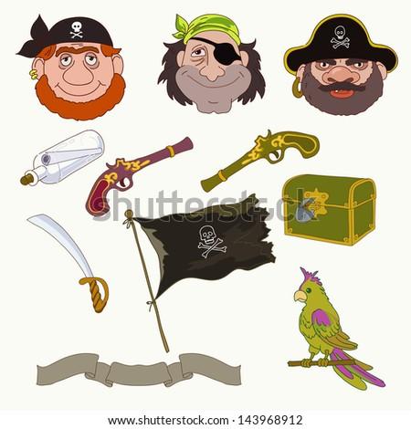 Three pirates - stock vector