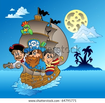 Three pirates and island silhouette - vector illustration. - stock vector