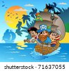 Three pirates in boat near island - vector illustration. - stock photo