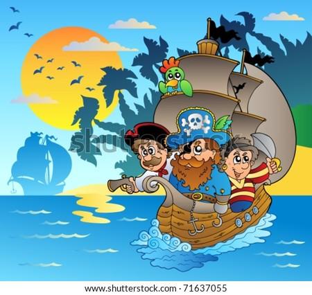 Three pirates in boat near island - vector illustration. - stock vector