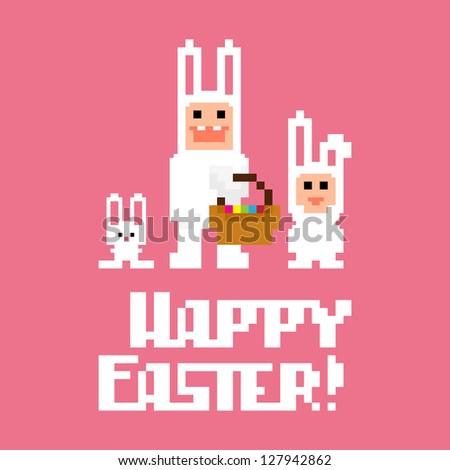 Three pixel art easter rabbits, vector illustration - stock vector