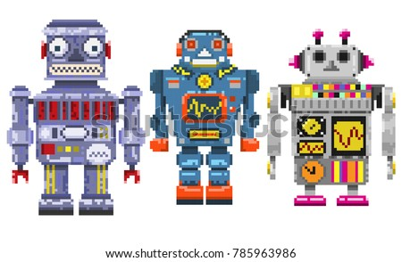 Three pixel robots isolated on a gray background