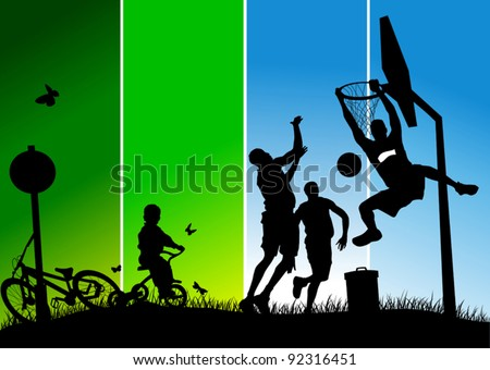 Three players in basketball at the background of basketball rings (vector); - stock vector