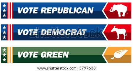 Three political web banners - stock vector