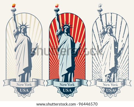 three posters with statue of liberty - stock vector