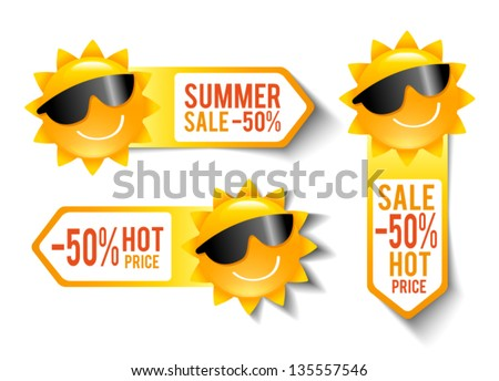 Three Pricetags With a Smiling Sun - stock vector
