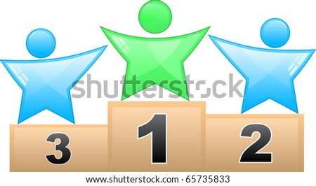 Three prize places of a competition - stock vector