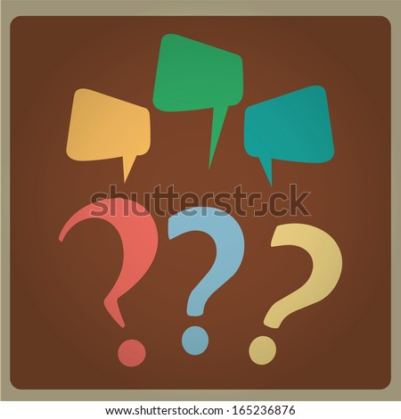 three question marks with different colors with three bubbles - stock vector