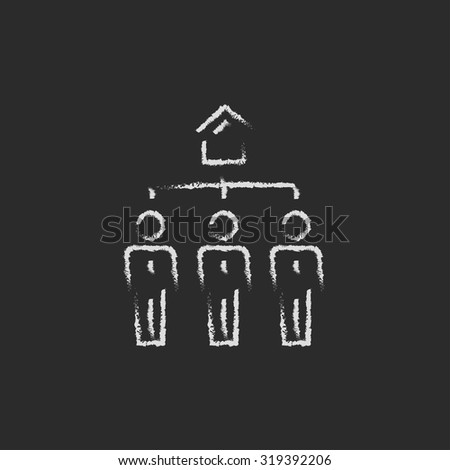 Three real estate agents hand drawn in chalk on a blackboard vector white icon isolated on a black background. - stock vector