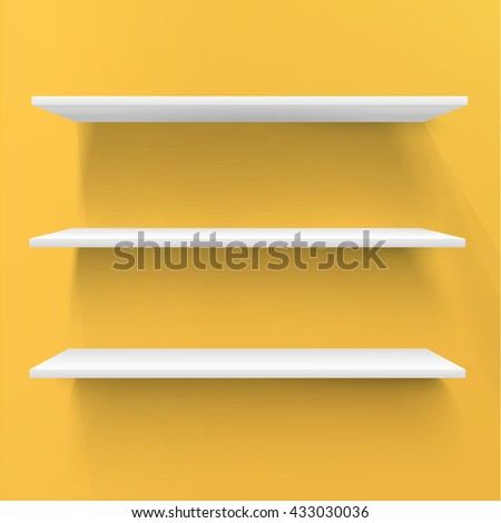 Three Realistic Vector Design Standing Shelf For Your Sample Product - stock vector