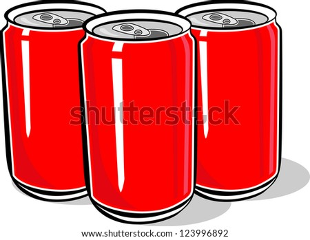 Three Red Aluminum Beer Can - stock vector