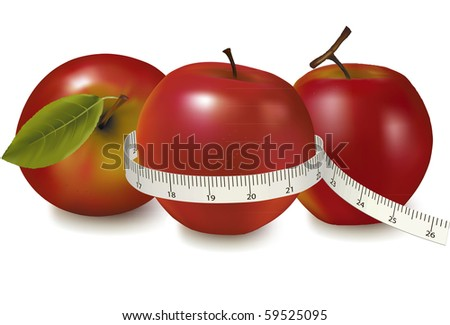 Three red apples measured the meter. Vector. - stock vector