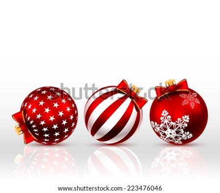 Three Red  christmas Balls on white background. Vector illustration.  - stock vector