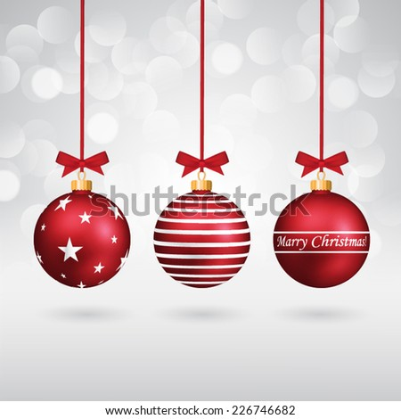 Three red different decorated christmas balls with bows on sparkling background. - stock vector