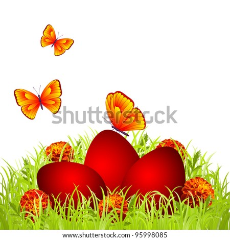 Three red Easter eggs in the grass with flowers and butterflies - stock vector