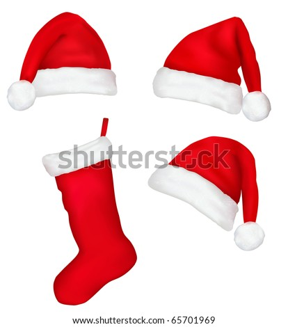Three red santa hats and christmas stocking. Vector illustration. - stock vector