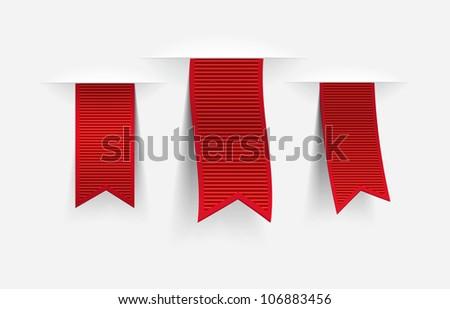 Three red vector ribbon tags with shadows - stock vector