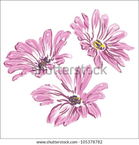 three rose daisywheels - stock vector