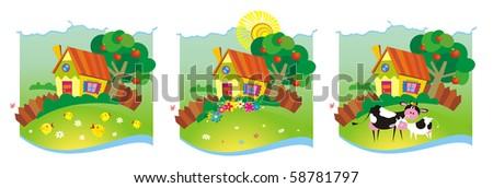 Three rural backgrounds. Vector illustration - stock vector