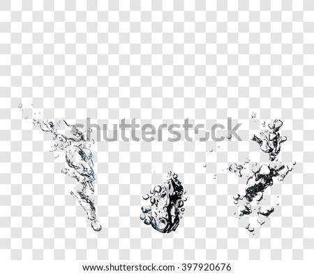 Three sample of vectorized Soap Water Bubbles. Transparent Isolated Realistic Design Elements. Can be used with any Background. - stock vector