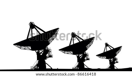 Three satellite dishes silhouette vector image - stock vector