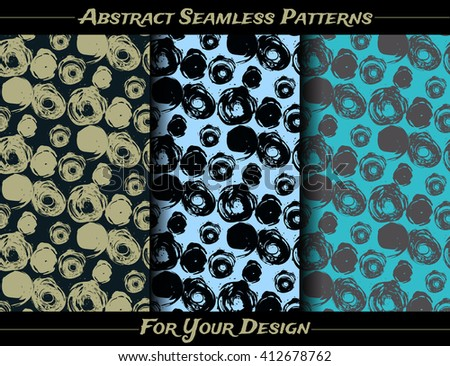 Three seamless vector patterns of ink blots. Paint stains.