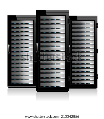 Three Servers - Server in Cabinets - stock vector