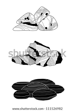 Three Sets of Vector Black and White Stones Isolated on White Background - stock vector