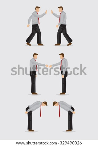 Three sets of vector illustration showing the different social gestures of greeting for different cultures, including, waving, handshake and bowing isolated on plain background. - stock vector