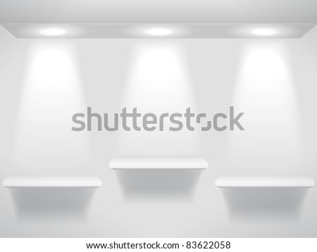 Three shelves in the light - stock vector
