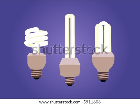 Three shining energy saving light bulbs in different types with dark background. - stock vector