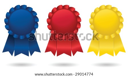 Three shiny, satin ribbons, representing first, second and third place; vector file contains unexpanded blends. - stock vector