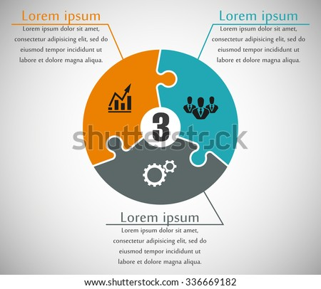 Three sided puzzle presentation infographic template with explanatory text field for business statistics - stock vector