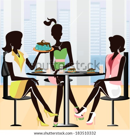 Three silhouettes in retro style sitting in a beautiful restaurant