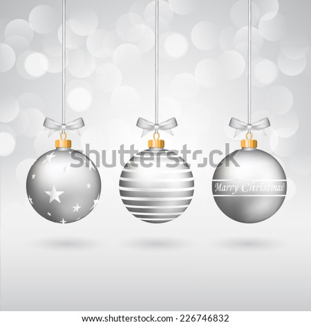 Three silver different decorated christmas balls with bows on sparkling background. - stock vector