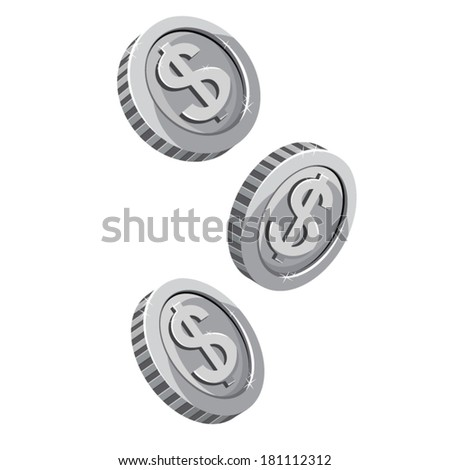 Three silver dropping coins isolated on white background. Vector Illustration  - stock vector