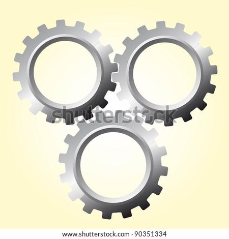 three silver gears over beige vector illustration - stock vector