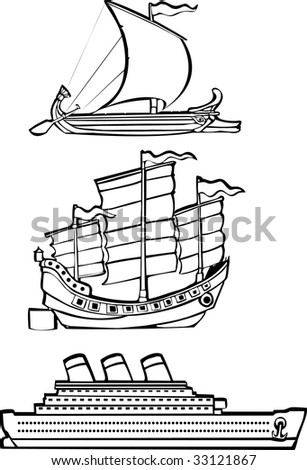 three simple ships from history illustrated in black and white. - stock vector