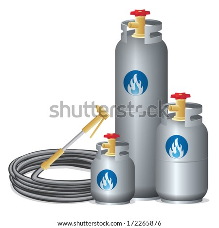 Three sizes of propane gas with rubber tube on white background , vector illustration - stock vector