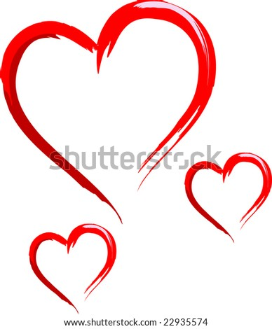 Three Sketched Hearts - stock vector