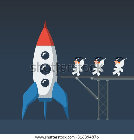 Three small funny astronauts crew on metal bridge loaded into the rocket and preparing to start. Flat style vector illustration. - stock vector