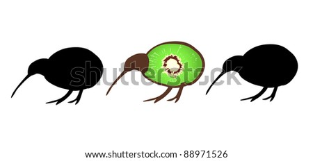 Three small kiwi birds in a line, one with kiwi fruit forming his flightless body, symbol of New Zealand