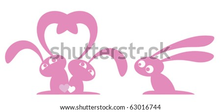 three small pink rabbit on a white background