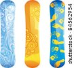three  snowboards, with original design, isolated on white - stock vector