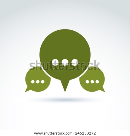 Three speech bubbles with dots, forum and discussion symbol isolated on white background, call center icon.  - stock vector