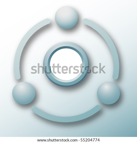 Three spheres connect around copy space in a technology cycle abstract. - stock vector